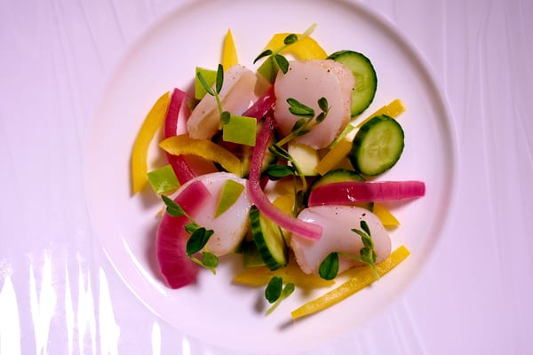Sous vide smoked scallop salad above2