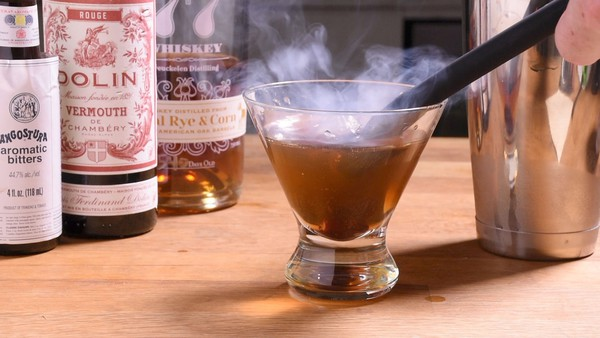 Smoked manhattan smoking