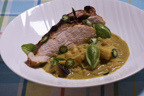 Sous vide turkey green curry side
