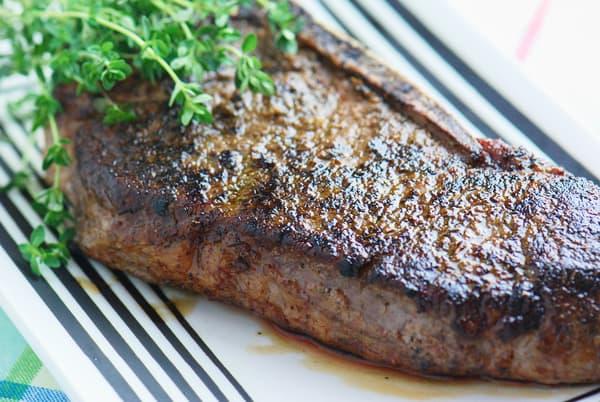 Sous vide strip steak seared