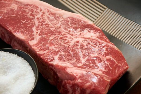 Sous vide strip steak raw salt