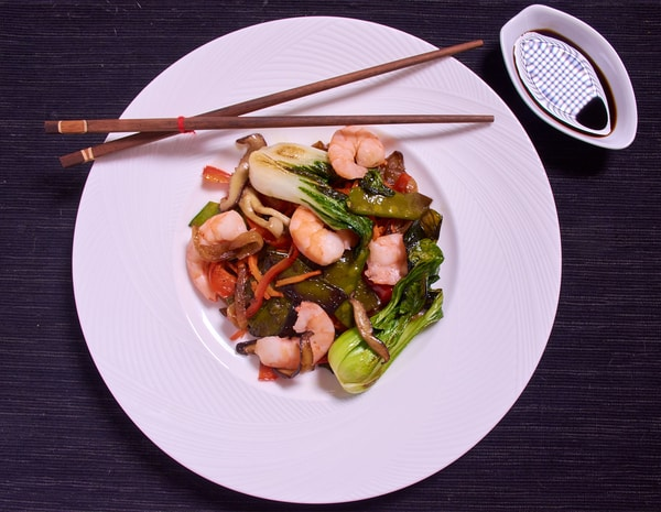 Sous vide shrimp stir fry over
