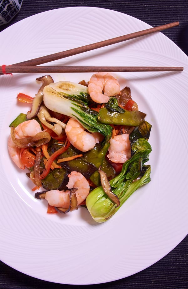 Sous vide shrimp stir fry over v