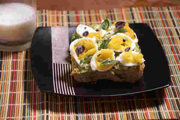 Sous vide hard boiled eggs avocado toast side
