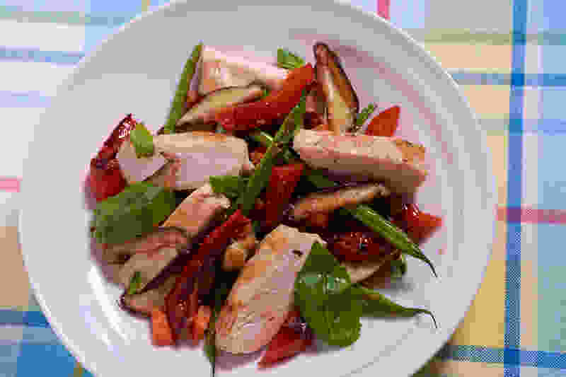 Sous vide chicken breast sauteed vegetables 1