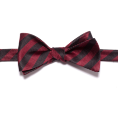 Dark Red and Black Striped Bow Tie