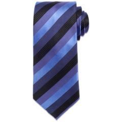 Blue and Black Tri-Colored Stripe Tie