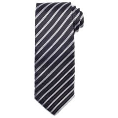 Black with White Stripe Tie