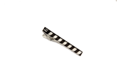 Black and Steel Candy Stripe Tie Clip