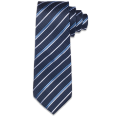  Midnight Blue &amp; White Striped Tie