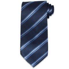 Navy Birdseye Textured Striped Tie