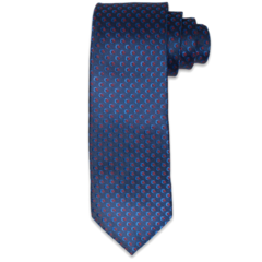 Navy & Red Circular Accents Tie