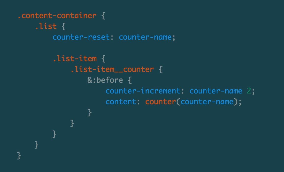SCSS for CSS Counter Example