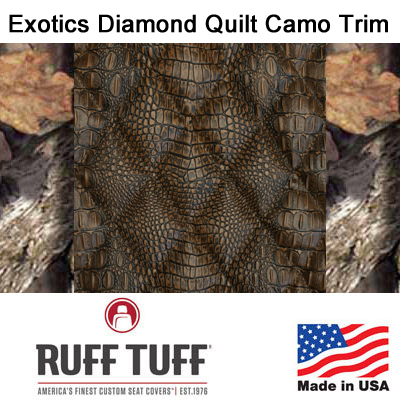 Exotics Diamond Quilt Insert With Camo Pattern Trim Seat Covers