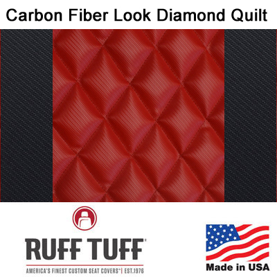 Carbon Fiber Look Diamond Quilt Inserts With Carbon Fiber Trim Seat Covers