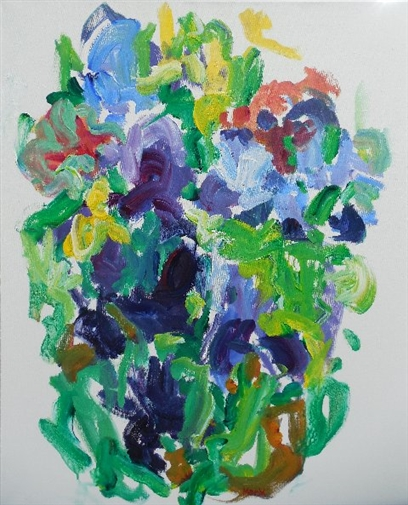 Flower Bed with Purples<br>Acrylic on Canvas, Paintings