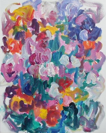 Pinks in a Sea of Color<br>Acrylic on Canvas, Paintings