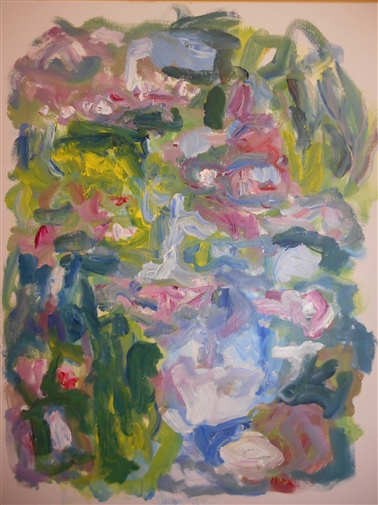 Water Lilies from Monet's Bridge, 7pm, Giverny<br>Acrylic on Canvas, Paintings