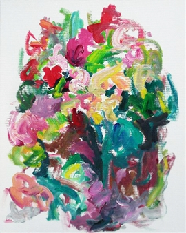 Susan Marx - Rose Bed I Acrylic on Canvas, Paintings