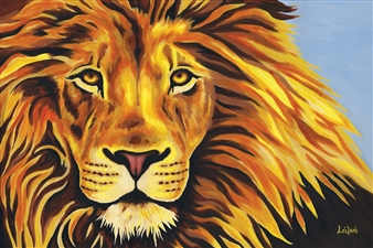 Leilani - Fire Lion Acrylic on Canvas, Paintings
