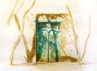 Farshid Razavi - Shadows of Nostalgia, Green Door Watercolor on Canvas, Paintings