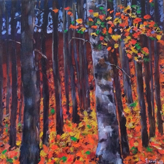 Robert Scurfield - Poplars Acrylic on Canvas, Paintings