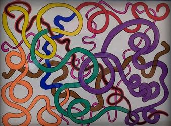 Fernando Soto - Untitled Acrylic on Canvas, Paintings