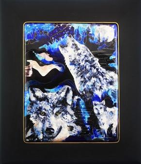 Natia Malazonia - Wolf Howling Enamel on Panel, Paintings