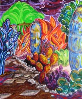Mark Salevitz - Backyard Path Acrylic on Canvas, Paintings