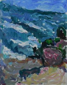 Susan Marx - The Ocean at Long Branch, NJ Acrylic on Canvas, Paintings