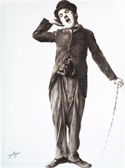 Yuliya Pogreb - Yawning Chaplin Dry Oil on Canvas, Paintings