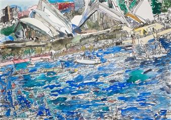 Ping Lian Yeak - 14007 Sydney Opera House Ink on Paper, Paintings