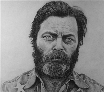 Von Coop - Nick Offerman Pencil on Paper, Drawings