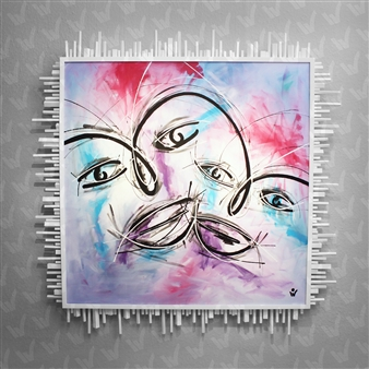 Sven Weigle - Faces Acrylic on Canvas, Paintings