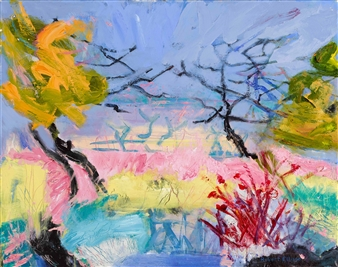 Robert Ellison - View of Maggie's Garden Acrylic & Oil on Canvas, Paintings