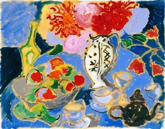 Robert Ellison - Blue Still Life with Sicilian Jug Oil on Canvas, Paintings