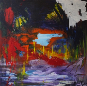 Menno Vos - Intriguing Acrylic on Canvas, Paintings