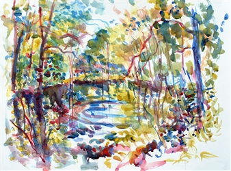 James Chisholm - Summer Cool Watercolor on Paper, Paintings