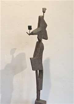 Lex Heilijgers - Female Statue with Bird - side view Stone with Bronze Coating, Sculpture