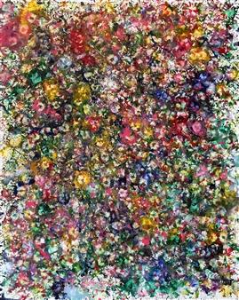 Maria Fernandez Gold - Field of Blooms Encaustic on Canvas, Paintings