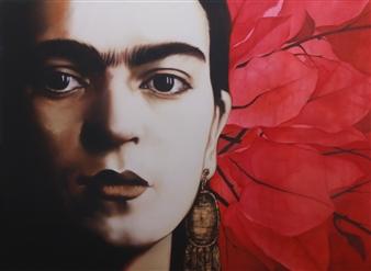 Carmen Félix - Frida Oil on Canvas, Paintings