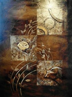 Nora Nourmohammadi - Time Mixed Media on Canvas, Mixed Media