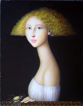 Alfonso Rocchi - 68AB - Fanciulla con cardo Oil on Board, Paintings