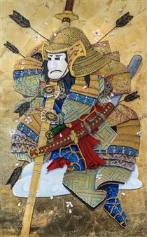 Mirco Pasqualini - Golden Warrior Acrylic & Gold Leaf on Canvas, Mixed Media