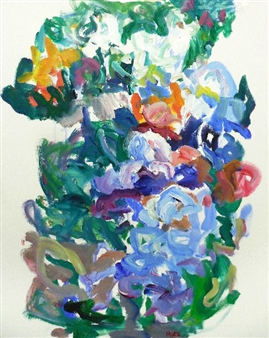 Susan Marx - Flower Bed in May Acrylic on Canvas, Paintings