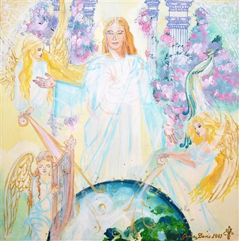 Doris Brown - Jesus and the Angels of Creativity Acrylic on Canvas, Paintings