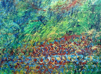 Trent Altman - Colorful Sky & Meadow Acrylic & Mixed Media on Canvas, Mixed Media