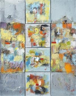 Kerstin Lundin - 2 Plus 4 Oil & Mixed Media on Canvas, Mixed Media