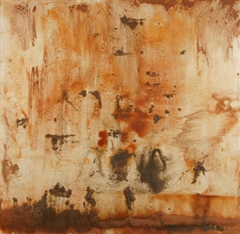 Madai Taylor - When The Sky Cries, Utha, Tennessee and Iowa Earth Earth & Adhesive on Paper Mounted on Board, Mixed Media
