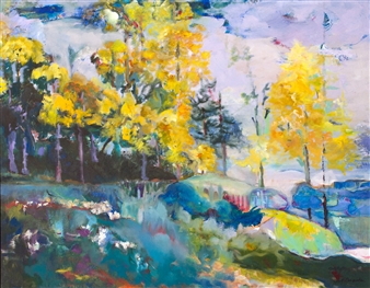 Carol Carpenter - Yellow Forest Giclee Print on Paper, Prints